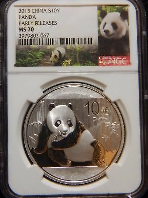 2015 China Panda S10Y Early Releases 1oz Silver NGC MS70 Panda Label.......RC680