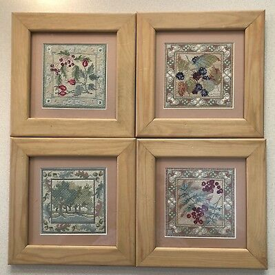 Set Of 4 Hand Embroidered Pictures In Wooden Frames 8.5 By 8.5