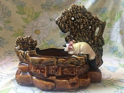 Mid Century Modern Rare Multi Color 1957 McCoy Cat at the Well Planter Vintage