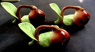 Set of 3 Fine Bone China - Apple Napkin Rings