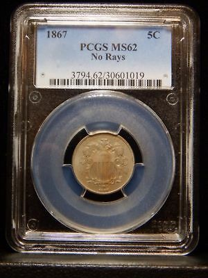 1867 Shield Nickel  ..PCGS MS62 No Rays.....Great Type Coin...............RC013