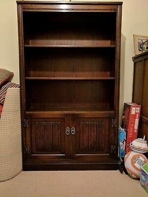 Old Charm dark oak bookcase with cupboard
