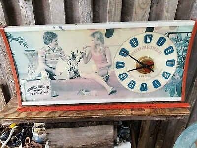 "Vintage 36"" Anheuser Busch Beer Advertising Sign & Clock With Dalmatian"