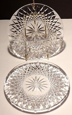 "2 Vintage Waterford Alana Deep Cut Irish Crystal 6"" Bread & Butter Plates"