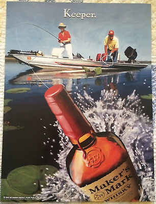 RARE Vintage Makers Mark Bourbon Whisky fishing 18 x 26 Poster NOS NEW Keeper