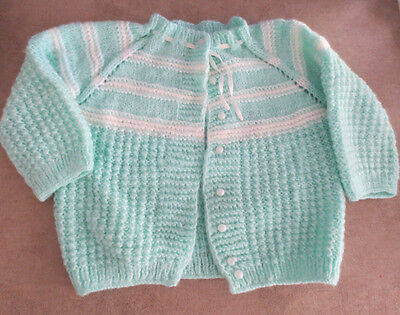 Vintage Hand Knitted Baby  Infant Toddler Cardigan Sweater Mint Green