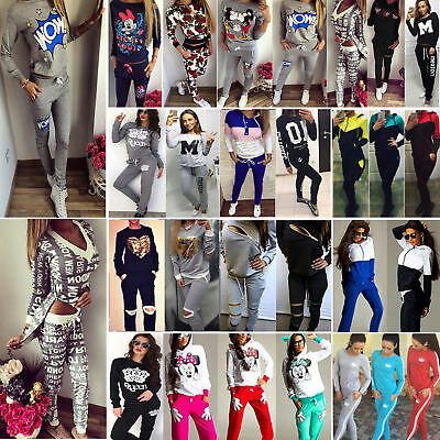 Womens Gym Sport Tracksuits Set Sweatshirt Tops Pants Jogging Running Activewear
