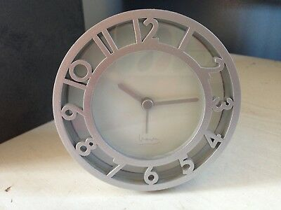 Vintage Michael Graves Silver Post Modern Round Alarm Clock Cutout Numbers