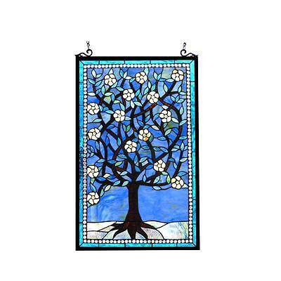 """Stained Glass Chloe Lighting Tree Of Life Window Panel CH1P215BF32-GPN 20 X 32"""""""
