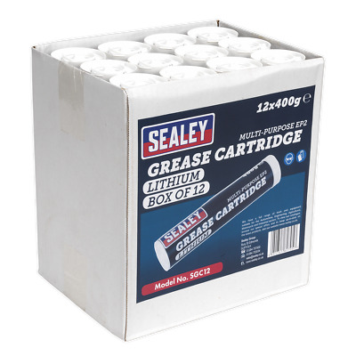 SGC12 Sealey Tools Grease Cartridge 400g Box of 12 [Grease Guns] Grease Guns