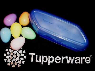 Tupperware LACQUER BLUE 6 Whole Egg Storer Eggs-Ceptional Keeper ~Camper Home