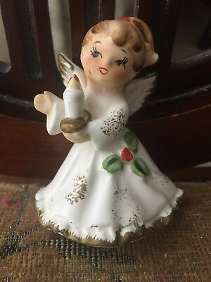 "Vintage 3"" Christmas Angel Porcelian, X-6963, Lefton?, Sweet Face Holding Candle"