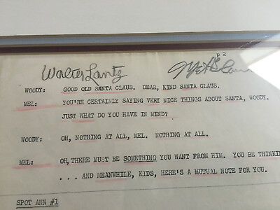 woody woodpecker Mel Blanc and Walter Lantz signed script page