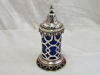 Victorian Gothic Silver Plate & Blue Glass Pepper Pot