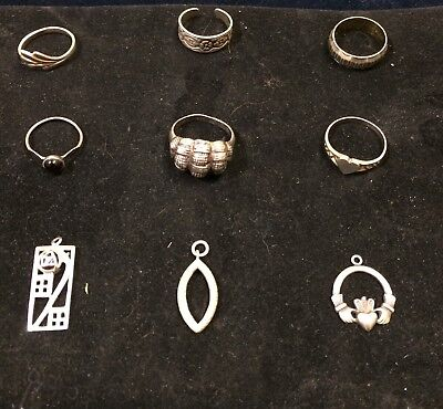 Mixed lot of 9 items All Silver Vintage Jewellery(sold as seen) wearable
