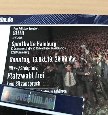 2 x Stehplatz SEEED in Hamburg - LIVE am 13.10.19