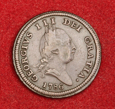 1786, Isle of Man (British Dependency), George III. Copper ½ Penny Coin.