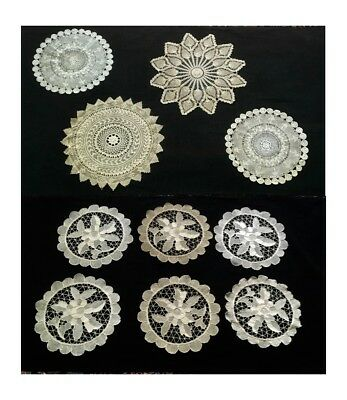 Vintage/Antique Hand Made Crochet/Reticella/Needlework Round Doily Lot Of 10