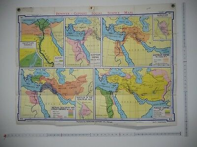 "1963 Denoyer-Geppert Mesopotamia Empire Fold Up School wall map 44x33"" hardcover"