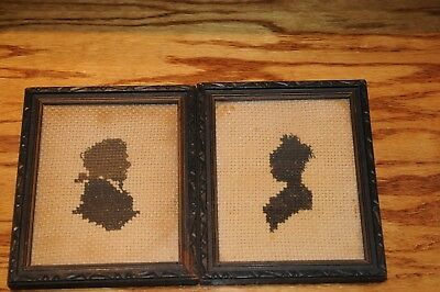 Antique Pair of Framed Silhouette Portrait Pictures Husband  Wife Cross Stitched