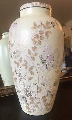 "Rare 13"" Antique Large Bristol Glass Hand Painted Signed Floral Enamel Victorian"