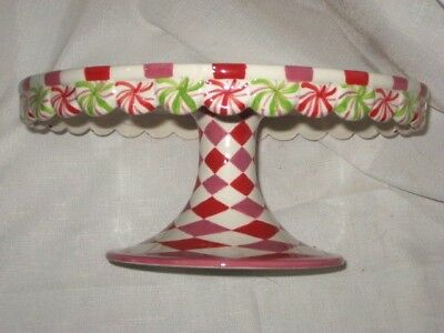 Dept 56 Glitterville Pedestal Cake Stand Peppermint Candy Xmas New Stripes Red