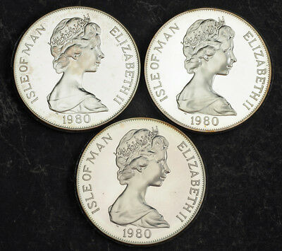 "1980, Isle of Man. Large Proof Silver Crown ""22nd Olympics, Moscow"" Coins. 3pcs!"