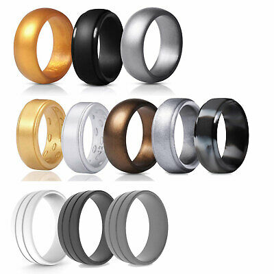 Silicone wedding ring Men Rubber band Gold Siliver Gym Sport Durable Flex Work