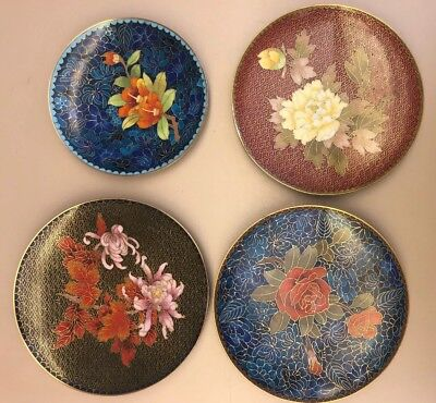 FOUR VTG Chinese Export CLOISONNE Footed PLATES With Three Stands *JINGFA*