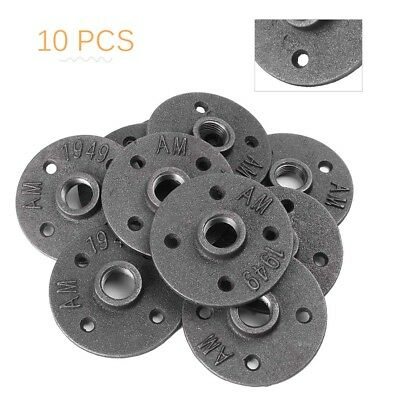 10PCS 1/2'' Malleable Threaded Floor Iron Flange Pipe Fitting Wall Mount 4-Hole