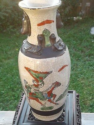 Antique Chinese Republic Porcelain Hand Painted Warriors Vase