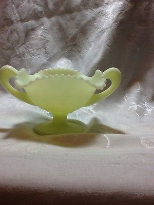 Vintage Fenton Art Glass Burmese Custard Compote Basket Weave Candy Dish