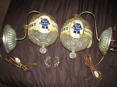 Two 1960's? Vintage Lighted Pabst Blue Ribbon Rotating Bar Globe Wall Sconces!!