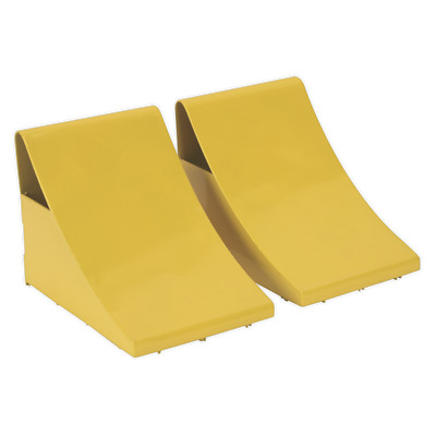 WC05 Sealey Heavy-Duty Steel Wheel Chocks 4kg - Pair [Ramps & Chocks]