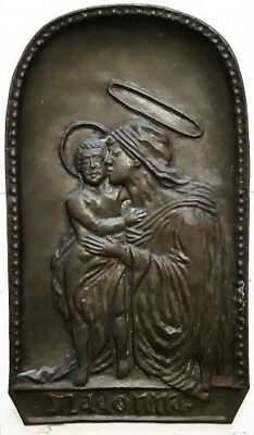 "Exquisite 18"" h Arts and Crafts Bronzed Pressed Brass MADONNA Wall Plaque, Nice!"