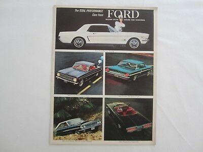 1964 FORD Performance Car ADVERTISMENT Sales BROCHURE Mustang Fairlane Galaxie
