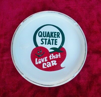 "1 Vintage Quaker State Love that Car Round Ashtray 6 1/2"" diameter"