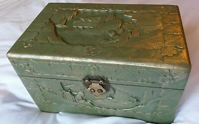 Antique Chinese carved box.antique.man box. oriental box.camphor chest.Asian box