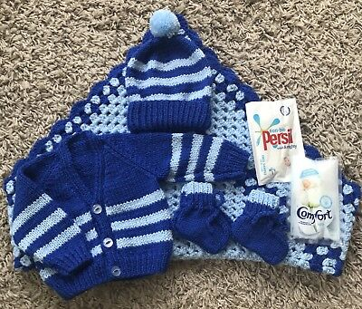 NEW Knitted Baby Blue & Royal Blue Set 0-3 Mths With Pram Blanket, 7 Piece Pack