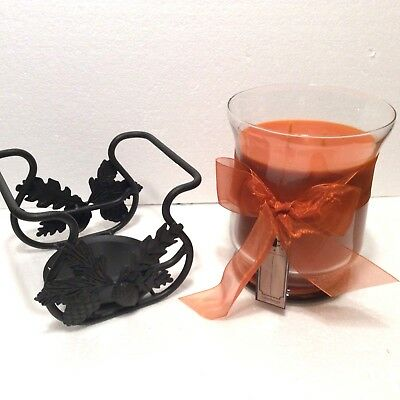 Pumpkin Pie Jar Candle 30 oz 3 Wick & Wrought Iron Toboso Holder Longaberger