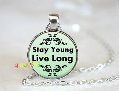 Stay Young, Live Long glass dome Tibet silver Chain Pendant Necklace wholesale