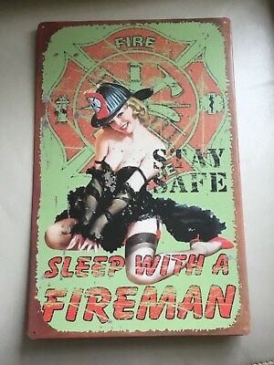 Vtg Style Tin Sign Pinup Girlie Risque Fireman Mancave Wall Repro Stay Safe