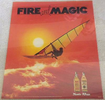 Monte Alban Tequila / 1987 Windsurfing Fire And Magic Poster Man Cave Mint