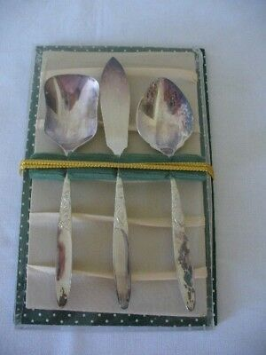 Vintage Grosvenor Silver Plate Sugar & Jam Spoons Butter Knife Christine Pattern