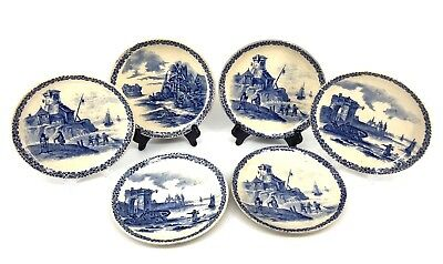 "6 Antique Terre De Fer Hb & C Blue And White Plates 8"" Castles And Water Scenes"