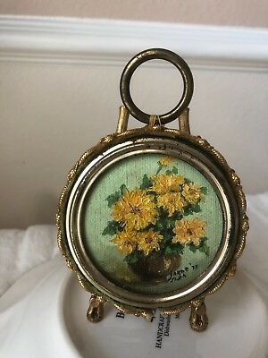 Miniature Beautiful Painting Vintage Antique Flowers Signed Bronze Round Frame*