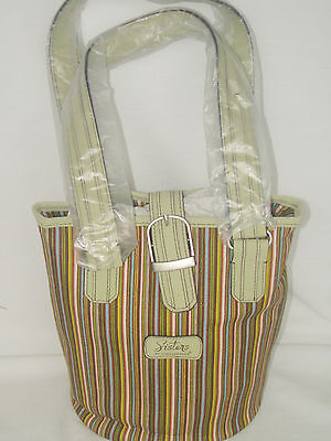 Sisters Stripe Longaberger Lime Green Bucket Purse Tote Faux Leather NEW