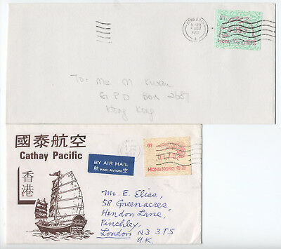 1980s Hong kong 2 Frama stamps on covers [L.119]