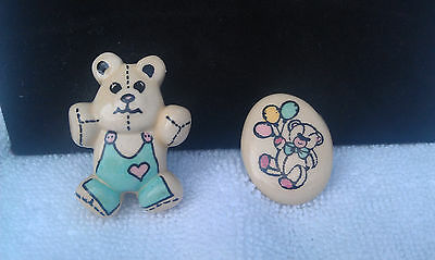 """LOT OF TWO """"VINTAGE TEDDY BEAR PINS"""" REALLY CUTE with butterfly backings"""