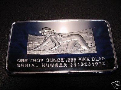 "FEMALE SILVER Commemorative S/P ART BAR""LOST Her Gold Leaf Flake In The Sand""-aj"